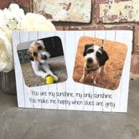 Double Wooden Personalised Pet Photo Block